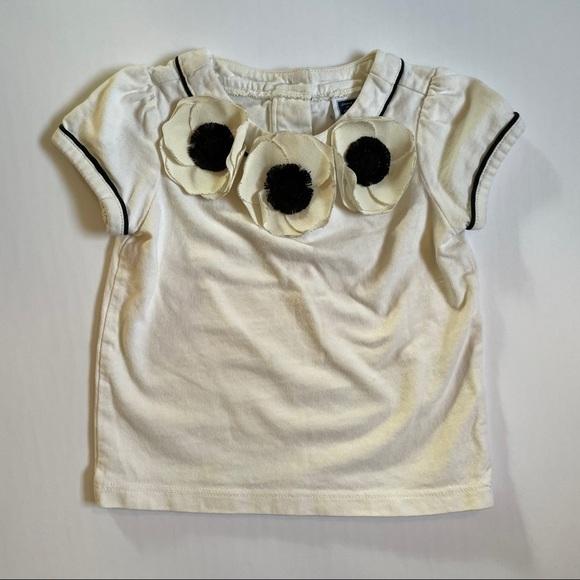 Janie & Jack Cream & Black Anemone Floral Shirt
